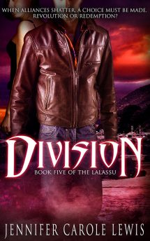 Book cover: man in leather jacket standing protectively in front of a woman, a red washed background. Title: Division, Author: Jennifer Carole Lewis