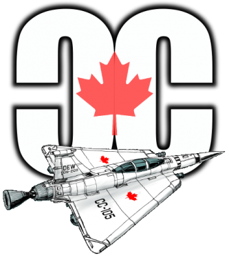Can-Con logo, mirrored C with Canadian maple leaf, jet plane in front
