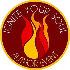 Ignite your soul logo, stylized flame on brown background, circled by gold.