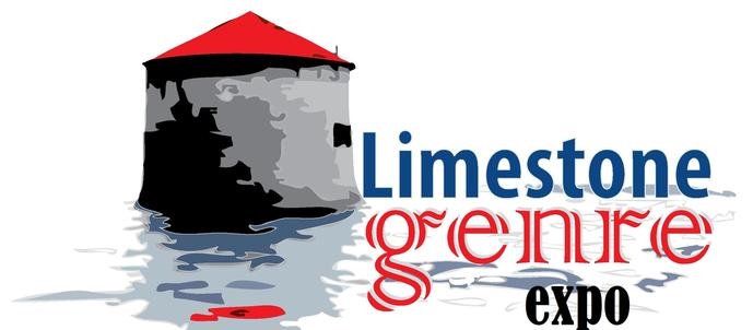 Logo for Limestone Genre Expo, a limestone tower overlooking the bay with the words Limestone Genre Expo.